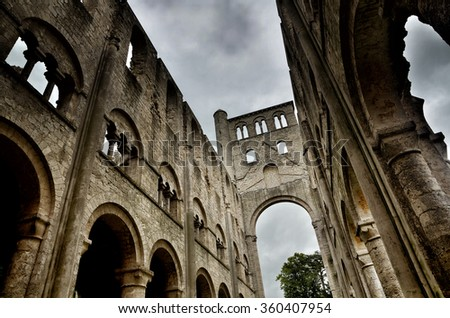 Jumieges Abbey in Normandy is one of the most beautiful, romantic and outstanding ruins in France - stock photo
