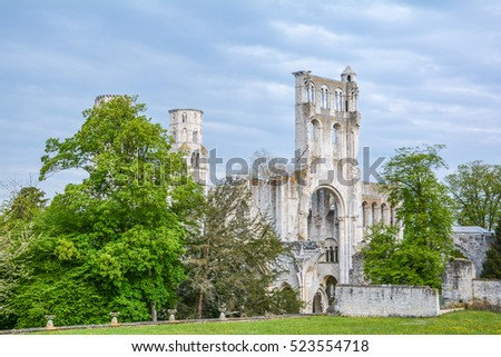 Jumieges Abbey, ruined Benedictine monastery in Normandy (France), May-07-2016