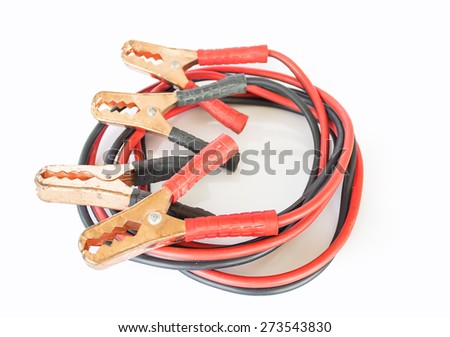 Jump battery wire for jump start a car on white background - stock photo