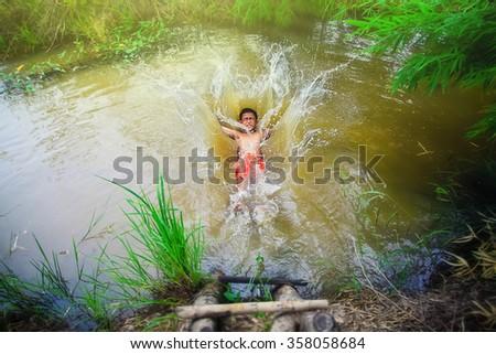 Jump, happy kid, blur - stock photo