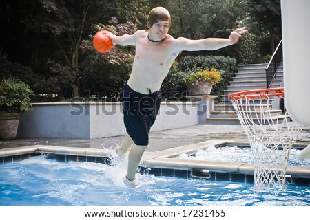 Jump in water basketball - stock photo