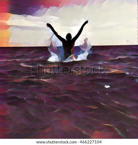 Jump out of the sea water. Painting style digital illustration in red with ocean, horizon and sky. Summer vacation joy and happiness emotion. Holiday fun by the seaside. Helping drowning people