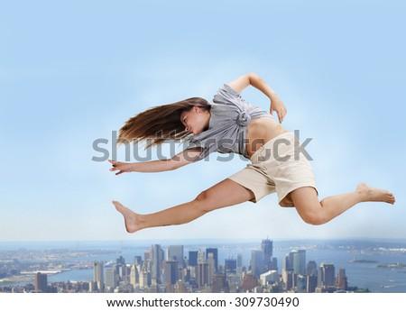 Jump to success. - stock photo