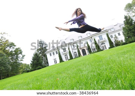 jumping and dancing - stock photo