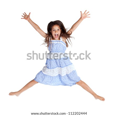 Jumping and screaming little girl, isolated on white - stock photo
