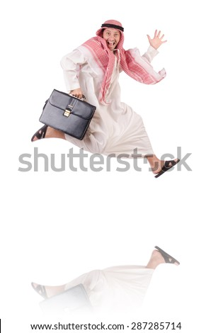 Jumping arab businessman isolated on the white - stock photo