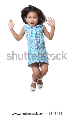 jumping asian kid jumping isolated in white background - stock photo