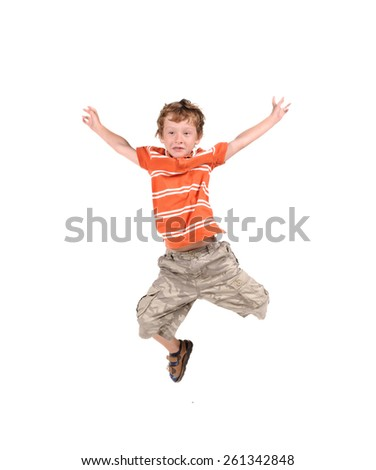 Jumping boy isolated over white background