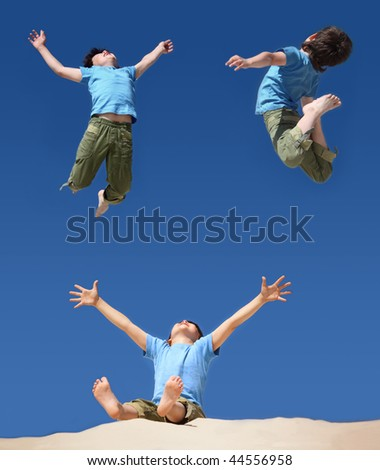 jumping boys on blue sky, sitting boy with hands and legs up on sand beach, collage - stock photo