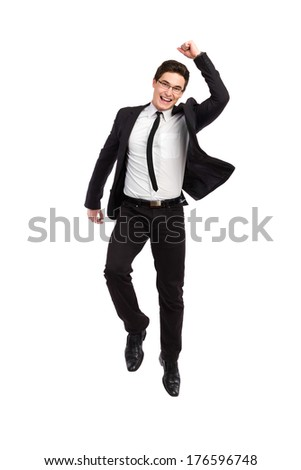 Jumping businessman. Full length studio shot isolated on white. - stock photo