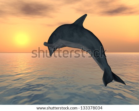 Jumping Dolphin Computer generated 3D illustration - stock photo