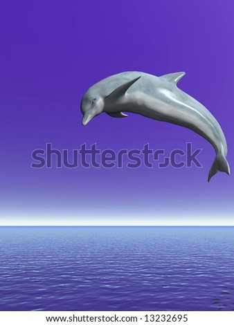 Jumping dolphin on a background of the blue sky - 3d scene.