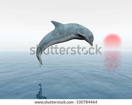 Jumping Dolphin with red Sun Computer generated 3D illustration