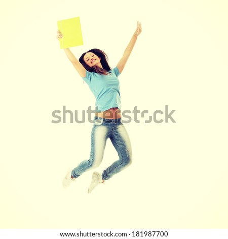 Jumping female college / university student