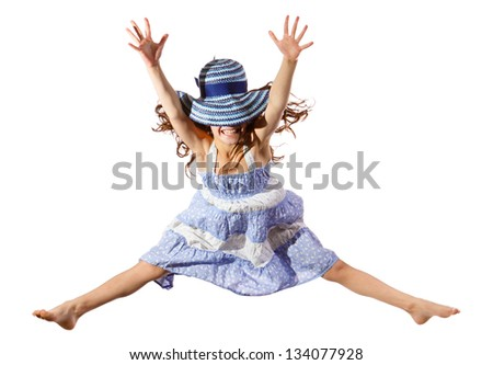 Jumping girl in blue hat on face, isolated on white