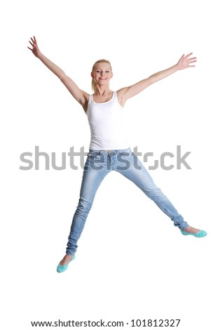 Jumping happy teen girl, isolated on white background
