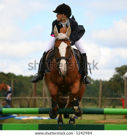 JUMPING HORSE - stock photo