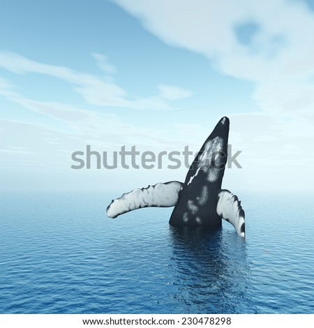 Jumping Humpback Whale Computer generated 3D illustration - stock photo
