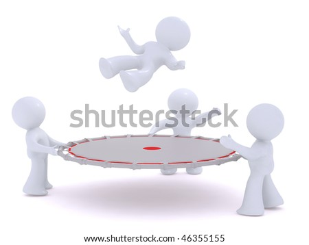 Jumping into the safety net - stock photo