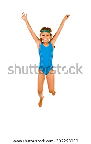 jumping little girl in swimsuit isolated on white - stock photo