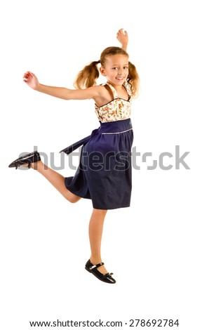 jumping little girl isolated on a white background - stock photo