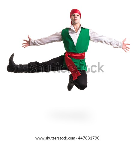 Jumping man wearing a pirate costume. Isolated on white in full length. - stock photo