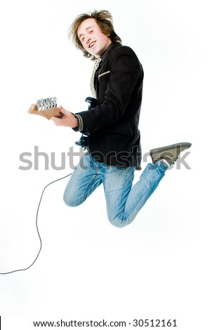 Jumping man with electro guitar, isolated on white background - stock photo