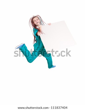 jumping medical woman with blank board, full length, white background - stock photo