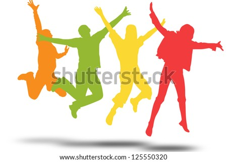 jumping people - stock photo