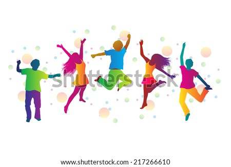 jumping people in bright clothes and colored spots  - stock photo