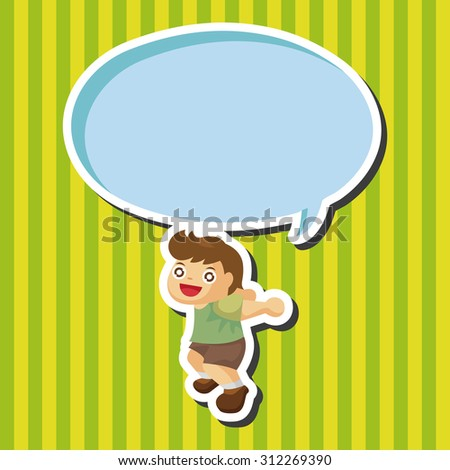 jumping person, cartoon speech icon