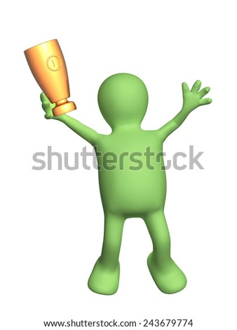 Jumping puppet with cup. Isolated on white background - stock photo