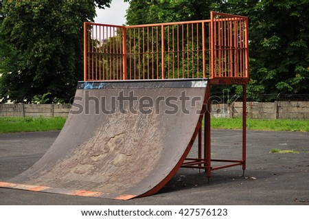 Jumping ramp on the public park