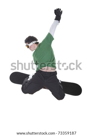 Jumping snowboarder isolated on white background - stock photo
