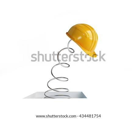 jumping spring hard hat 3d Illustrations on a white background - stock photo