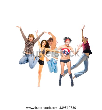 Jumping Together Winning Idea  - stock photo