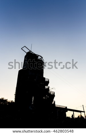Jumping tower at public park,silhouette concept