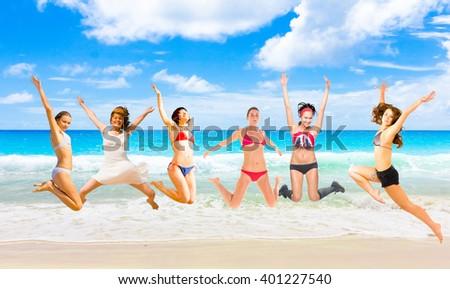 Jumping Wild On a Beach  - stock photo