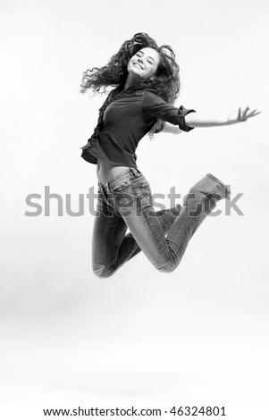 Jumping woman on White Background. Black and White