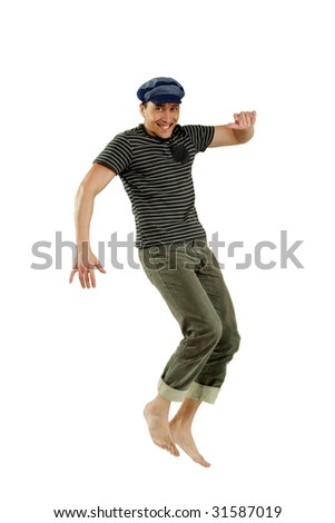Jumping young happy man isolated over white background