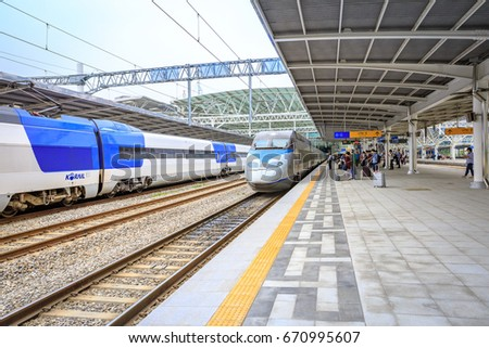 Jun 20, 2017 High speed bullet trains (KTX) and Korail trains stop at the Seoul station in South Korea