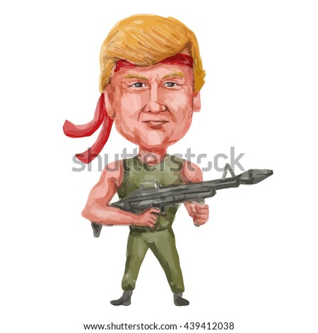 JUN 20, 2016:Watercolor illustration showing Republican 2016 presidential candidate Donald John Trump heavily armed and dangerous wielding a sub-machine gun firearm weapon in cartoon style.