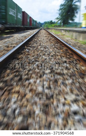junction of railways track in trains station - stock photo