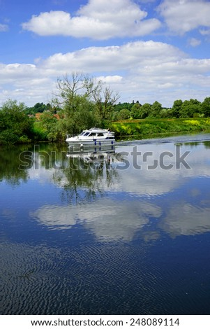 Junction of the Rivers Severn and Avon at Tewksbury Gloucestershire Midlands England UK - stock photo