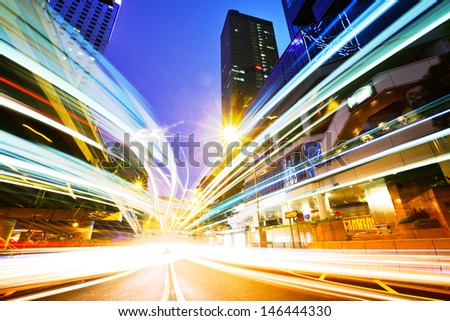 Junction of the road at night - stock photo