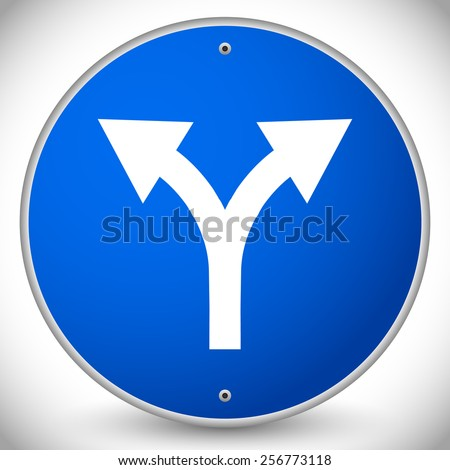 Junction Road Sign - Separation, two paths, two ways. Vector Illustration. - stock photo
