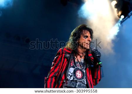 June 28, 2014 - Bay City, Michigan - Alice Cooper performs in concert at Veterans Park in Bay City Michigan - stock photo