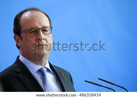JUNE 27, 2016 - BERLIN: French President Francois Hollande at a press conference before a meeting with the German Chancellor and the Italian Prime Minister after the Brexit Vote in the Chanclery.