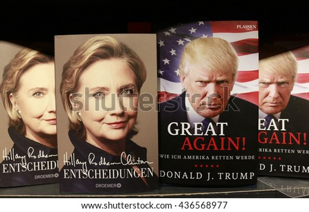 JUNE 2016 - BERLIN: Hillary Clinton and Donald Trump on the covers of an (auto)biographic books - presidential election campaign 2016.