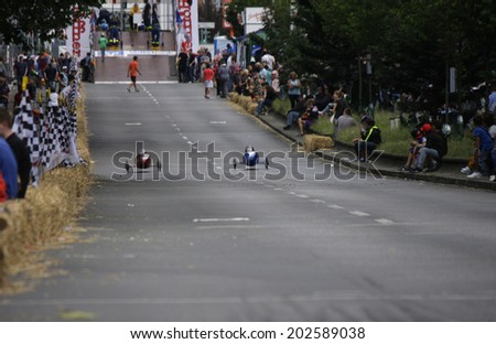 "JUNE 16, 2014 - BERLIN: impressions from the ""Seifenkistenderby"" (soap box derby) in the Badstrasse, Berlin-Wedding."